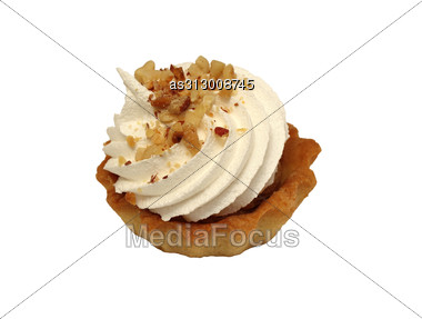 Sweet Cake With Cream Isolated On White Stock Photo