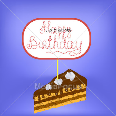 Sweet Cake Isolated On Blurred Blue Background Stock Photo