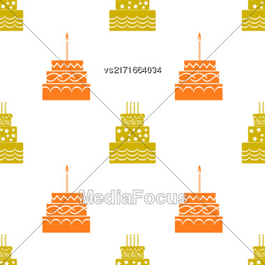 Sweet Cakes Silhouettes Isolated On White Background. Seamless Pattern Stock Photo