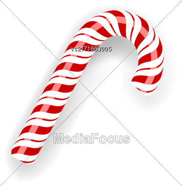 Sweet Candy Cane Isolated On White Background. Symbol Of New Year Stock Photo