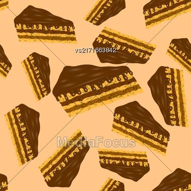 Sweet Chocolate Cake Seamless Pattern On Orange Background Stock Photo