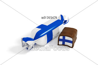 Sweet Chocolate Candy With Flag Of Finland Stock Photo