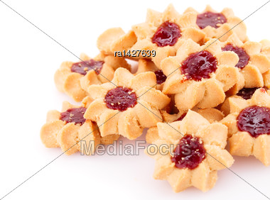 Sweet Cookies With Jam Isolated On White Background Stock Photo