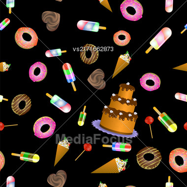 Sweet Food Seamless Pattern On Black Background Stock Photo