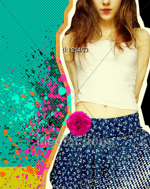 Sweet Girl With Fashion Clothes.Grunge Background For Text Stock Photo