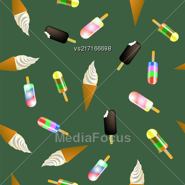 Sweet Ice Cream Pattern On Green Background Stock Photo