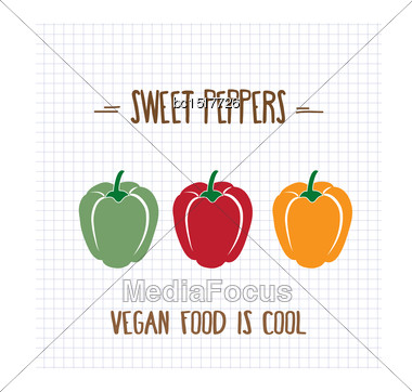 Sweet Peppers, Vector Format Stock Photo