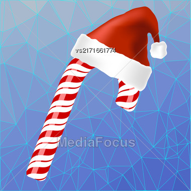 Sweet Red Candy Cane And Hat Of Santa Claus Isolated On Blue Ice Polygonal Background Stock Photo