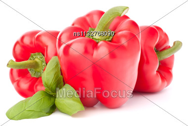 Sweet Red Pepper And Basil Leaves Still Life Isolated On White Background Cutout Stock Photo