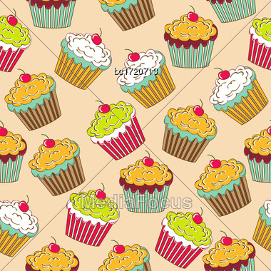 Sweet Seamless Pattern With Cupcakes, Vector Format Stock Photo