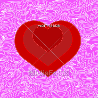 Symbol Of Heart On Abstract Pink Wave Background Stock Photo