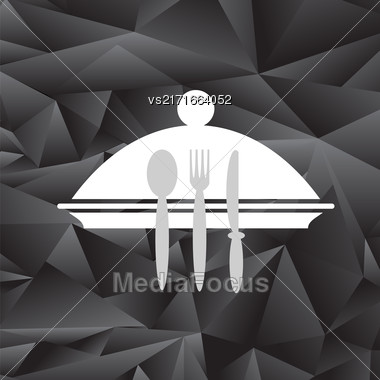 Symbol Of Restaurant Isolated On Black Polygonal Background. Menu Book Icon Fork, Spoon, Knife, Plate. Cafe Logo Design. Restaurant Menu Stock Photo