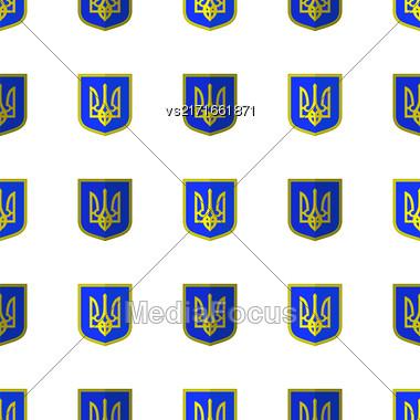 Symbol Of Ukraine Background. Seamless Ukrainian Pattern Stock Photo