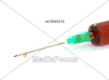 Syringe With Drops Stock Photo
