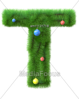 Royalty Free Stock Photo T Letter Made Of Christmas Tree Branches