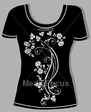 T Shirt Design With Vintage Floral Element Stock Image Ro122472