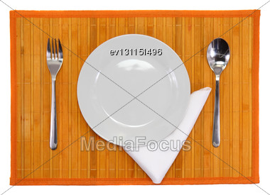 Table Serving-knife,plate,fork And Silk Napkin On Various Colour Background Stock Photo