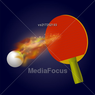 Table Tennis Racket And Ball With Fire Flame Isolated On Blue Background Stock Photo