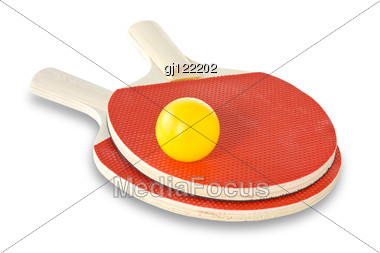 Table-tennis Rackets And Ball Stock Photo