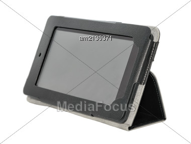 Tablet PC In A Case Close-up, Isolated On White Background. Stock Photo