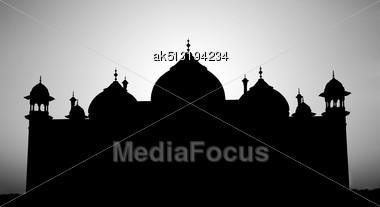 Taj Mahal Silhouette, Agra, India Stock Photo