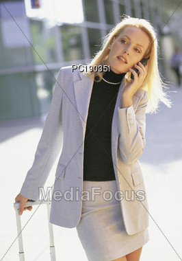 Taking a Call Stock Photo