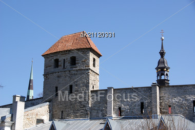 Tallinn, Tower And Wall Of Old City Stock Photo