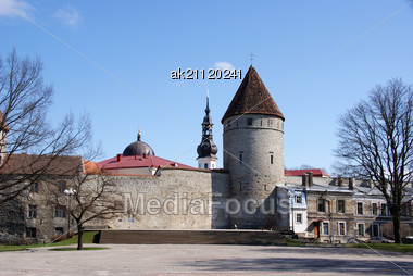Tallinn, Towers And Walls Of Old City Stock Photo