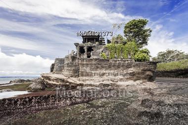 Tanah Lot Temple On Bali Island, Indonesia Stock Photo