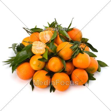 Tangerines Isolated On White Background Stock Photo