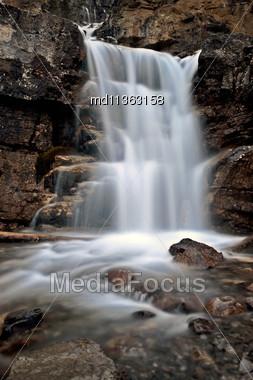 Tangle Waterfall Alberta Canada Jasper Highway Cascade Stock Photo