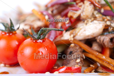 Tasty Appetizer Of Roast Beef Meat, Marinated Chicken Meat, Cherry Tomato And Other Vegetables Stock Photo