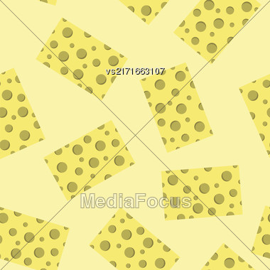 Tasty Cheese Seamless Pattern. Yellow Food Backround. Made From Cows Milk. Natural Product Stock Photo