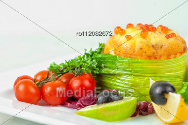 Tasty Dish Of Salmon With Omelette And Philadelphia Cheese Stock Photo