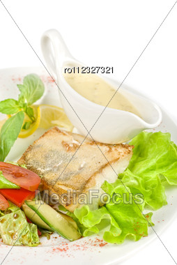 Tasty Fish Pike Perch With Mix Of Vegetables Stock Photo