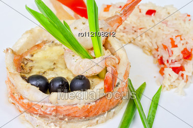 Tasty Prepared Fish With Rice And Vegetables Stock Photo