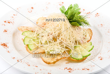 Tasty Salad Dish With Dried Crust, Vegetables And Cheese Stock Photo