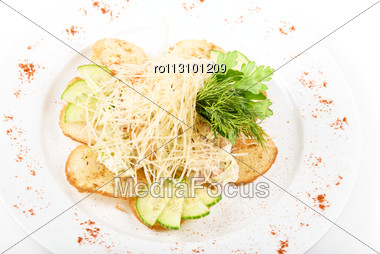 Tasty Salad Dish With Dried Crust, Vegetables, Greens And Cheese Stock Photo