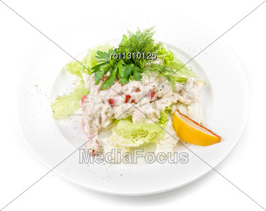 Tasty Salad Of Seafood And Vegetable Dish Close Up Stock Photo