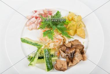 Tasty Snacks: Potato, Fat And Vegetables Closeup Stock Photo