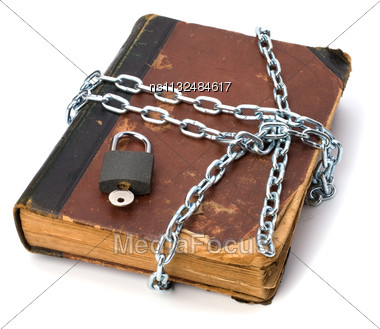 Tattered Book With Chain And Padlock Isolated On White Background Stock Photo
