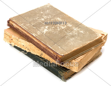 Tattered Book Stack Isolated On White Background Stock Photo