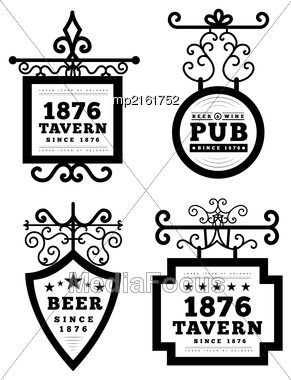 Tavern Sign, Metal Frame With Curly Elements. Vector Illustration On White Background Stock Photo