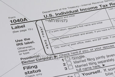 Tax Form 1040A Stock Photo
