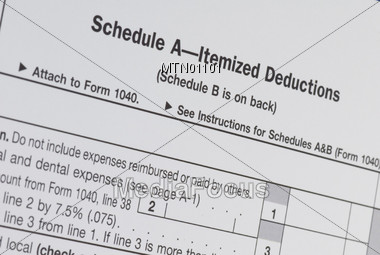 Tax Form Schedule A - Itemized Deductions Stock Photo