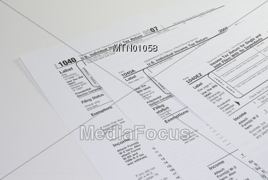 Tax Forms 1040, 1040A & 1040EZ Stock Photo