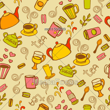 Tea And Coffee Seamless Background. Vector Doodles Pattern Stock Photo