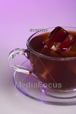 Tea Cup With Color Backlite Stock Photo