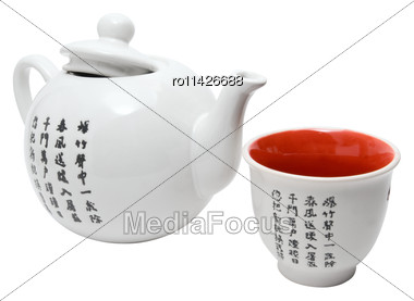 Tea-things In Asian Style With Hieroglyphics. Isolated On White Stock Photo