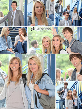 Teacher And Pupils In A College Stock Photo